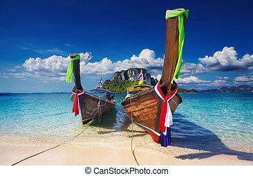 Tropical beach, Thailand - Longtail boats, Tropical beach,...