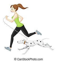 Jogger Girl With Dog - Girl jogging with her dalmatian