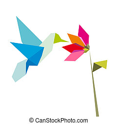 Origami flower and hummingbird on white -