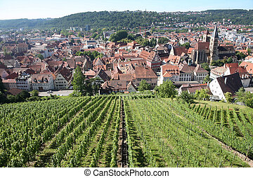 Esslingen am Neckar views from Castle Burg near Stuttgart,...