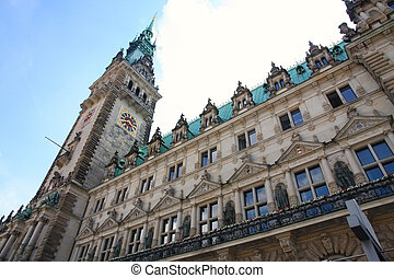 Rathaus, famous town hall in Hamburg, Germany