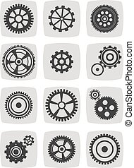 gearwheel mechanism icon set, vector illustration -...