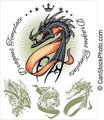Dragons and ribbons - vector set Stock illustration -...