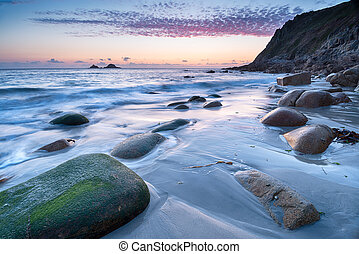 Porth Nanven Beach Sunset - Porth Nanven beach near Lands...