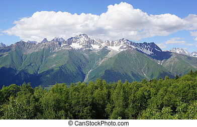 Caucasus Mountains, Mestia, Georgia - Panorama of the...