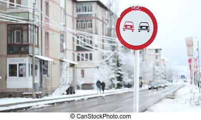 Winter City Traffic - Slow traffic durring winter time in a...