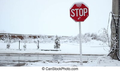 Snowy Stop Traffic Sign - Snowed stop traffic sign during...