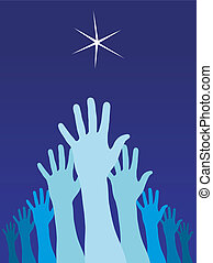 Raised hands trying to reach a star - A group of raised...