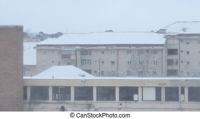 Snow Storm on the Buildings - Powerful blizzard blows the...