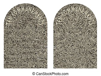 The Ten Commandments - The two stones containing the ten...