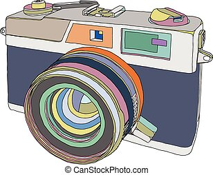 Camera - Vintage old photo camera draw. Vector illustration...