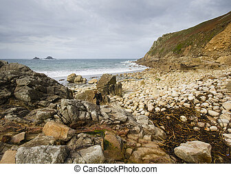 Porth Nanven Cove Cornwall - beach at Porth Nanven Cove near...