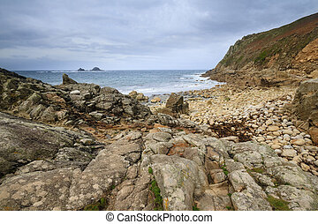 Porth Nanven Cove Cornwall UK - beach at Porth Nanven Cove...