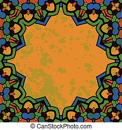 Islamic floral art. Stylized oriental frame for text in green color.