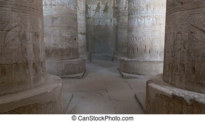 Interior of hall at Dendera Temple in Egypt - Interior of...