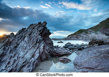 Rugged Cornwall Coast - Rugged cliffs and rocks on the...