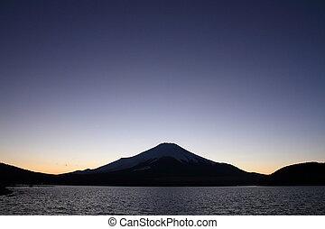 Mt. Fuji from Yamanaka lake at evening