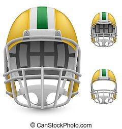 Helmet - Set of yellow football helmets on a white...