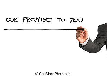 mano, de, Un, hombre, escritura, nuestro, Promesa, a, usted,...