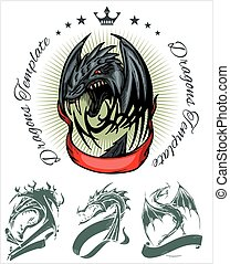 Dragon and ribbon - vector set. Stock illustration.
