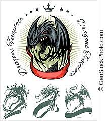 Dragon and ribbon - vector set Stock illustration - Dragon...