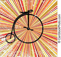 Retro Bicycle - Penny Farthing Bicycle over an abstract and...