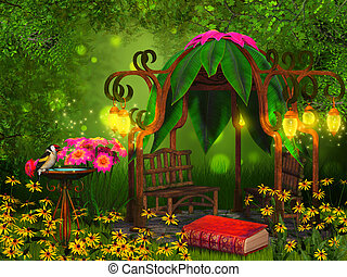 magical reading place - fantasy background illustration deep...