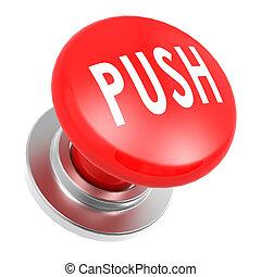 押し, ボタン, 赤