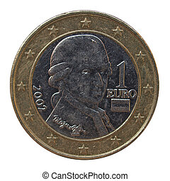 Austrian Euro coins with Mozart portrait - 1 Euro coin from...