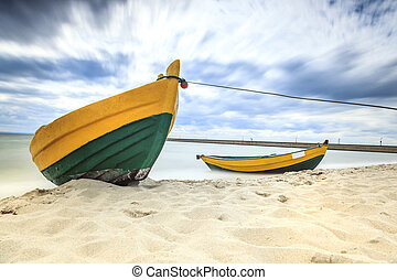 Wooden boat on The Baltic shore. - Wooden boat on The Baltic...