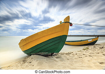Wooden boat on The Baltic shore - Wooden boat on The Baltic...