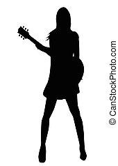 Girl Musician Silhouette