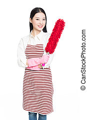 female cleaner - picture of beautiful woman with cleaning...