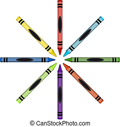 Color crayons ring with the ends toward the center