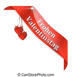 """Red tape with the words """"Happy valentines day"""" in German -..."""