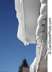 Snow Drift on House Eave - Snow hanging over the the eaves...