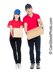 delivery mailman carrying cardboard box, white background.