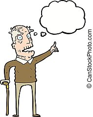 cartoon old man with walking stick with thought bubble