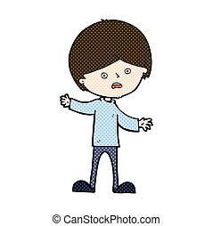 comic cartoon unhappy boy - retro comic book style cartoon...