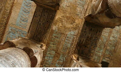 ancient painting on the ceiling at Dendera Temple. Ancient...