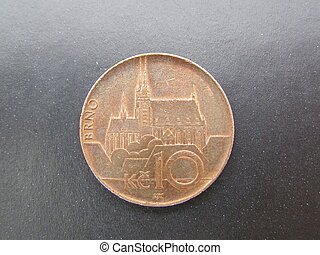 Brno cathedral on a coin - the cathedral of Brno Cezch...
