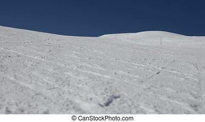 Skiing Downhill. Bormio, Italy - Low angle view of the...