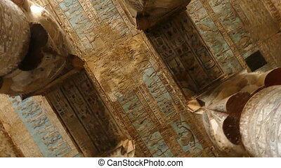 ancient painting on the ceiling at Dendera Temple