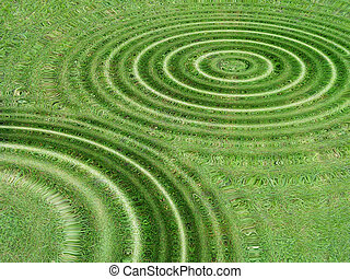 Grass lawn meadow background underwater with water circles