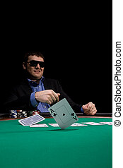 Stylish poker man - Two aces fold in texas hold\'em poker at...