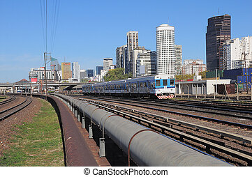 Railway by the central station in Buenos Aires Argentina