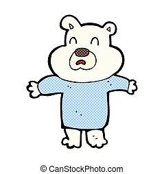 comic cartoon unhappy polar bear - retro comic book style...