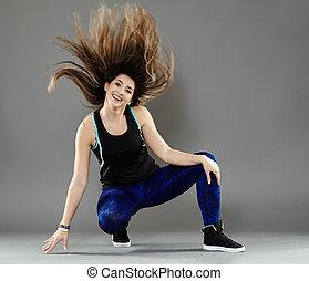 Urban dancer doing moves - Street dancer girl doing moves on...