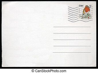 Blank postcard with stamp and postage meter