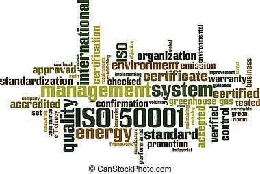 ISO 50001 word cloud concept Vector illustration